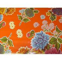 Mexican oilcloth chrysant orange - off the roll
